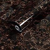 LZYMLG PVC autoadhesivo impermeable grueso papel pintado 3D mármol patrón pegatina muebles cocina sala de estar vinilo pared papeles rollos negro