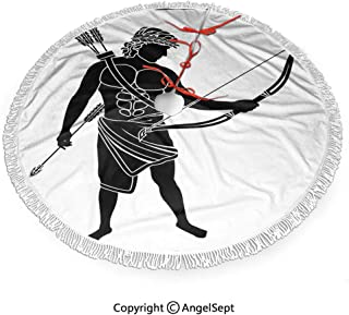 48 inch Christmas Tree Skirt Hellenic Bowman Silhouette Eros Fantasy Gladiator Old Mediterranean Print,Print with White Fringed Lace,New Year Festive Holiday Party Decoration