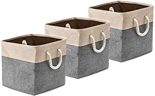 BeigeSwan Foldable Canvas Fabric Storage Basket [Set of 3] Collapsible Organizer Bins Cubes with Cotton Rope Handles - 13 ...