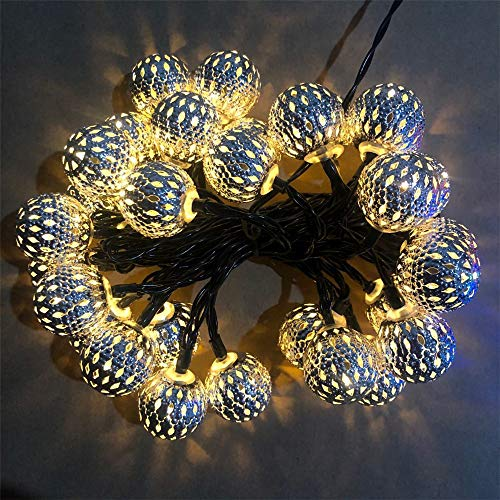 QiaoJia Solar Globe String Lights Moroccan Orb String Light White Warm 20LED Globe Fairy String Lights for Outdoor Garden Home Decoration