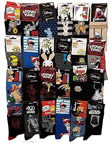 Calzini Motivo: Personaggi Disney Confezione di calzini fantasia, con licenza, assortimento di modelli come da foto. Multicolore Pack de 10 Paires Modèle Homme