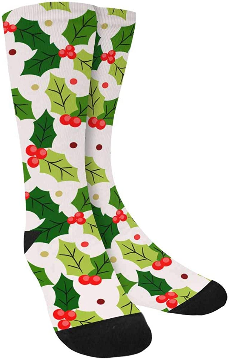 INTERESTPRINT Christmas Berry Holly on Light Yellow Background Sublimated Polyester Casual Crew Socks