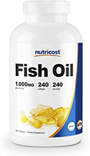 Nutricost Fish Oil Omega 3 1000mg (600mg of Omega-3), 240 Softgels - Non-GMO, Gluten Free