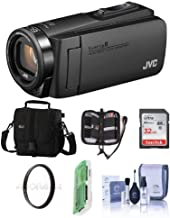 JVC GZ-R560BUS EverioR Quad-Proof HD Camcorder with 32GB Internal Memory (Black) - Bundle with Video Bag, 32GB SDHC Card, 37mm Uv Filter, Cleaning Kit, Mwemory Wallet, Card Reader