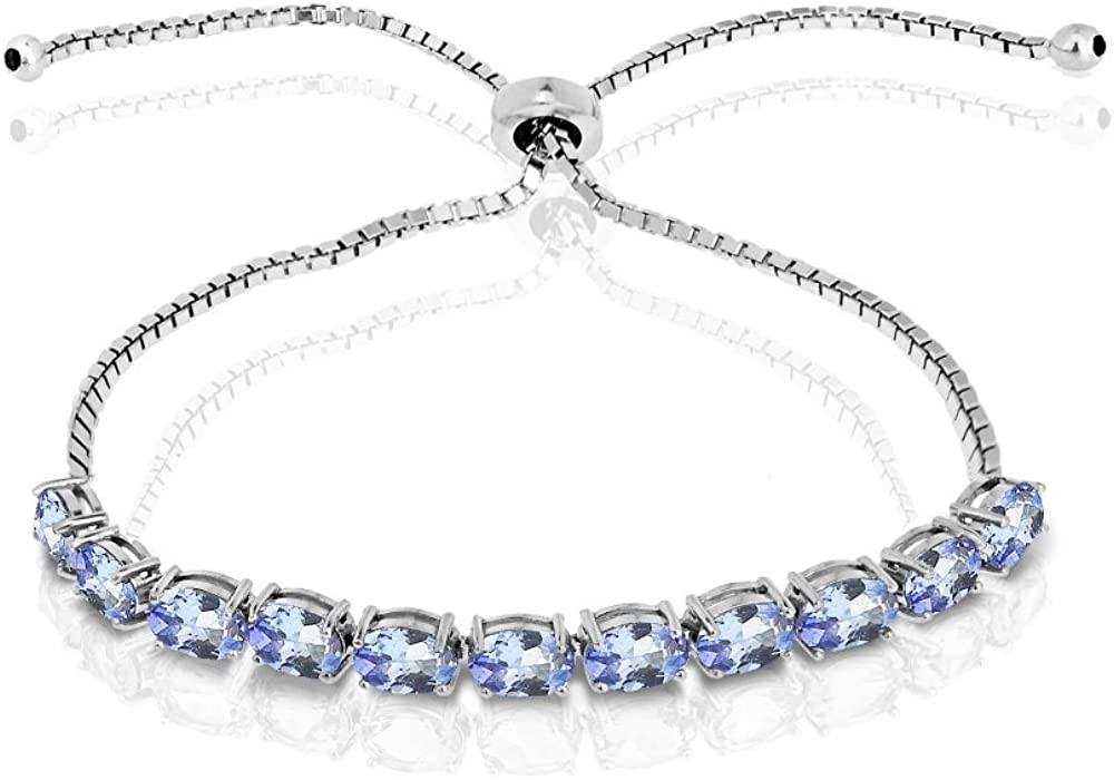 GemStar USA Sterling Silver Bombing free shipping Tanzanite Oval-Cut 6x4mm Adjustable Now on sale
