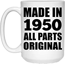 70th Birthday Made in 1950 All Parts Original - 15oz White Coffee Mug Ceramic Tea-Cup High Quality - Idea for Friend Kid Daughter Son Grand-Dad Mom Taza de Café Blanca de 44cl - Regalo para Cumplea