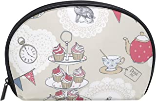 Anna Cowper Tea Party Alice In Wonderland Half Moon Cosmetic Makeup Toiletry Bag Travel Handy Organizer Pouch for Women Girls