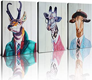 YOOOAHU Funny Hippy Nordic Animals Wall Art Room Decor Canvas Prints Wood Framed Painting Pictures Reindeer Elk Giraffe Goat Job Modern Artwork Men Boys Gifts Home Decoration Set 3 Panel 12 x 16 Inch