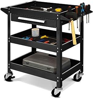Three Tray Rolling Tool Cart Mechanic Cabinet Storage ToolBox Organizer w/Drawer,Jikkolumlukka