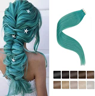 LaaVoo 14inch Teal Tape Human Hair Extensions 25g Popular Color 10Pcs PU Skin Weft Remy Human Hair Extension