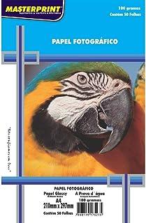 Masterprint 302010004, Papel Fotográfico, Inkjet, A4, Glossy, 180 g, Multicor, Pacote de 50