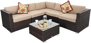 PHI VILLA Outdoor Rattan Sectional Sofa- Patio Wicker Furniture Set (6-Piece, Beige)