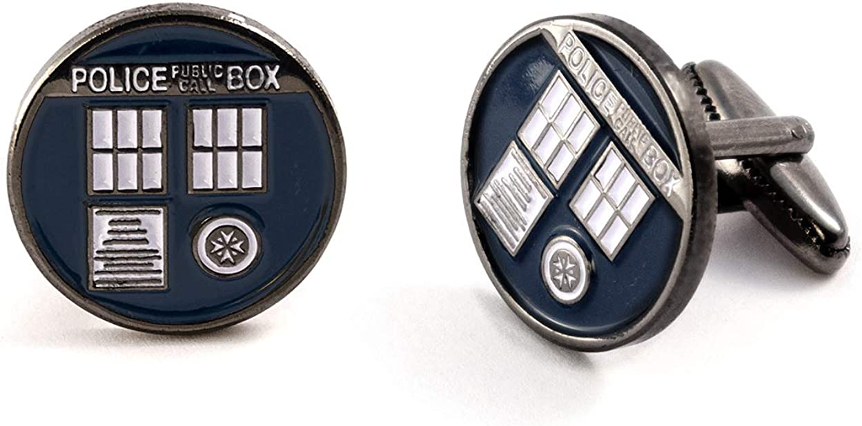 SharedImagination Tardis Cufflinks, Doctor Who Tie Clip Tack, Dr Who Tardis Cuff Links, Time Lord Jewelry, Gallifrey Wedding Party Groomsman Gifts
