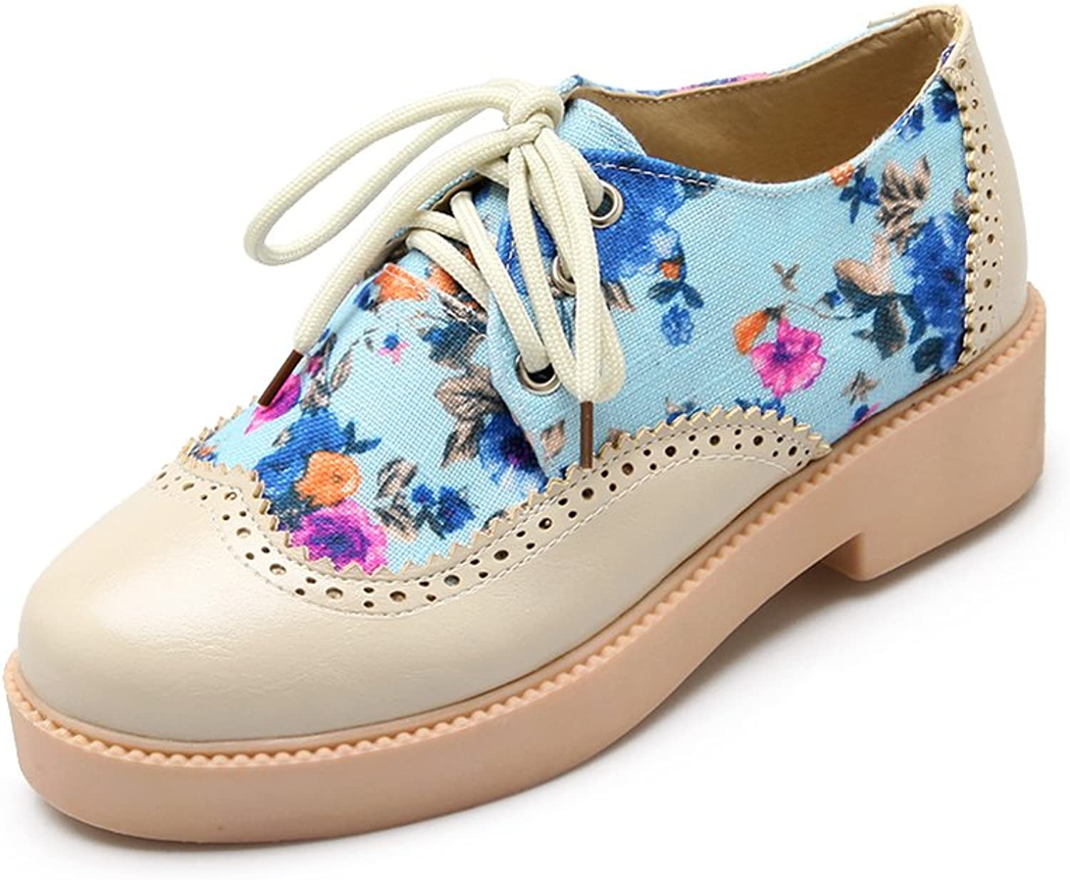 Lucksender Womens Fashion Sweet Prints Low Heel Lace Up Oxfords shoes