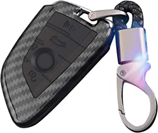 WinPower Car Key Cover Carbon Fiber Car Key Case with Keychain, Compatible with BMW 1, 3, 4, 5, 6, 7 Series, X3, X4, M3, M...