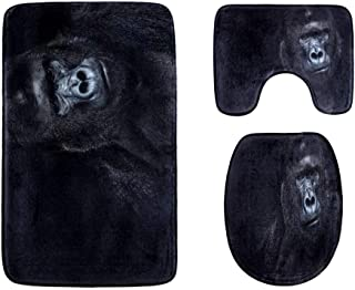 Cruel and Fierce Gorilla Bathroom Rug Mats Set 3-Piece,Soft Shower Bath Rugs,Contour Mat and Toilet Seat Lid Cover Non-Sli...