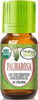 Organic Palmarosa Essential Oil (100% Pure - USDA Certified Organic) Best Therapeutic Grade Essential Oil - 10ml