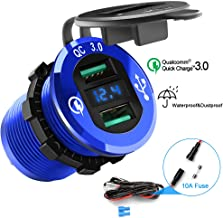 Opluz Dual QC3.0 USB Car Charger, Quickly Charge 4.8A USB Car Socket x2&Waterproof Power Outlet with LED Voltmeter for 12V/24V Car, Boat, Marine, RV, Motorcycle Mobile Build-in 10A Fuse Car Kit-Blue