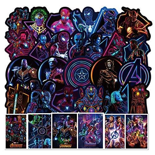 Pegatinas Disney The Avengers Cool Neon Iron Man Pegatina Monopatín Equipaje Portátil Guitarra Impermeable Stikers Juguetes Niños/45pcs