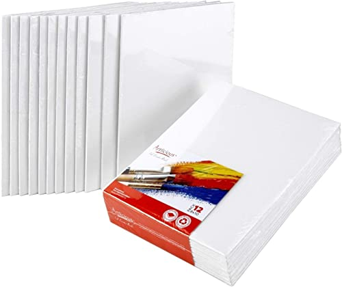 Artlicious Canvas Panels 12 Pack - 8 inch x 10 inch Super Value Pack - Artist Canvas Boards for Painting