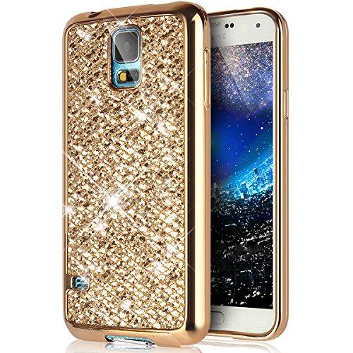 Cover Galaxy S5 Mini,Custodia Galaxy S5 Mini,Placcatura Cristallo Lucido scintillio caso Bling Glitter diamante Morbida TPU Silicone Gel Custodia Case Cover per Galaxy S5 Mini Custodia,Oro