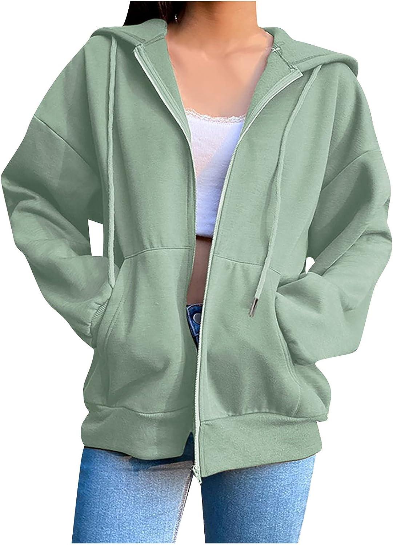 Women's Hoodies Coat Fashion Solid Color Zipper Hooded Plush Sweatshirt Loose Plus Size Long Sleeve Jacket