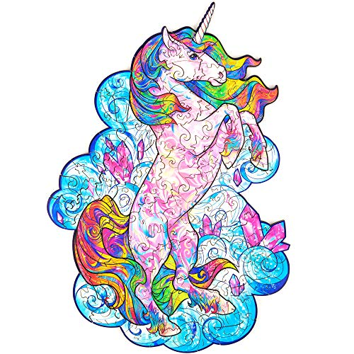 Unidragon Wooden Jigsaw Puzzles – Unique Shape Jigsaw Pieces Best Gift for Adults and Kids Inspiring Unicorn 7 x 9.5 in (18 x 24 cm) 101 pcs – S