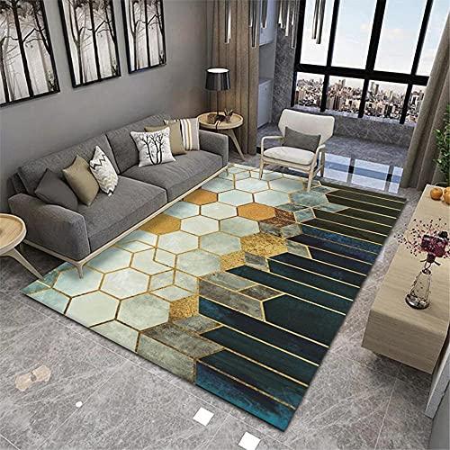 La alfombras decorqcion Dormitorio Alfombra geométrica Amarilla marrón Azul Lavable Antideslizante Alfombra Salon Alfombra Cocina 160*230cm