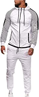 Mens Tracksuit Running Jogging Athletic Sports Jacket and Pants Set Striped Patchwork 2 Pieces Sets