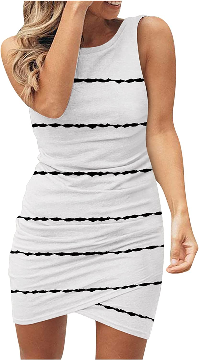 Ranking integrated 1st place WYTong Women's Stripe Overseas parallel import regular item Dress Casual Sleeveless Pleated Neck Round