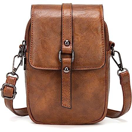 myfriday Vintage Umhängetasche für Damen Kleine Schultertasche Handtasche Messenger Bag Handytasche mit 2 Haupttaschen & Kopfhörerloch