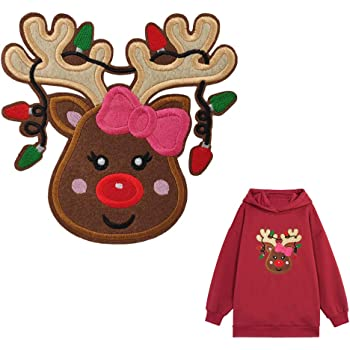7 Large Reindeer with Red Scarf Felt Applique Embroidered Iron On Sew On Patch