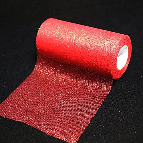 Log-Cabin rollo de cinta de tela de tul con purpurina brillante cinta de malla brillante 6 pulgadas de ancho 25 yardas de longitud para falda de tutú decoración de bodas camino de mesa