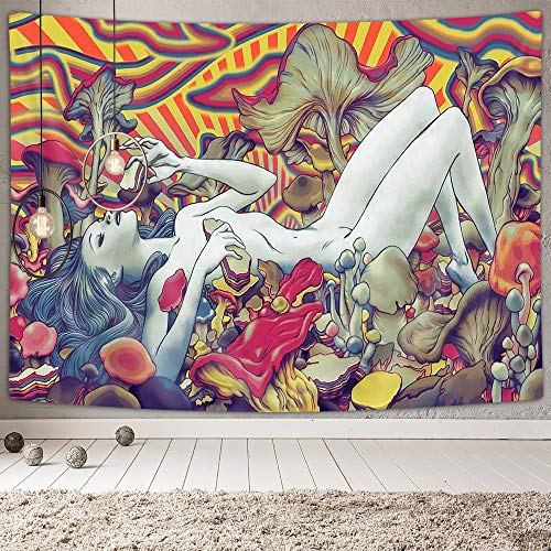 NYMB Psychedelic Tapestry, Abstract Naked Girl Lying on Trippy Mushroom Wall Tapestry, Psychedelic Mushroom Tapestry Wall Hanging for Bedroom Living Room Dorm Apartment Home Decoration, 60X40 In