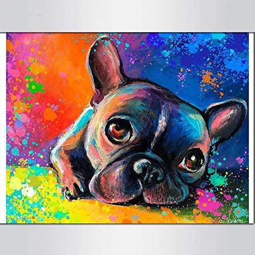 LSDAMW Colorful French Bulldog 5D Diamond Painting Bouledogue Bulldog Frances Diamond Embroidery Cross Stitch for Home Decoration 40x50cm