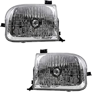BROCK Driver and Passenger Headlights Headlamps Replacement for 2001-2004 Sequoia 811500C020 811100C020