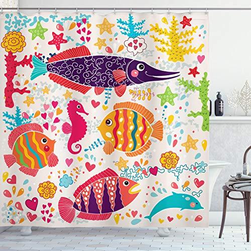 ABAKUHAUS Duschvorhang, Kinderfre&licher Design mit Fischen Seepferdchen Delfin Bunt Froh Herzen Sternen Druck, Blickdicht aus Stoff inkl. 12 Ringen Umweltfre&lich Waschbar, 175 X 200 cm