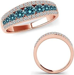 1 Carat Blue Diamond Fancy Eternity Etoil Band Designer Cluster Ring 14K Rose Gold