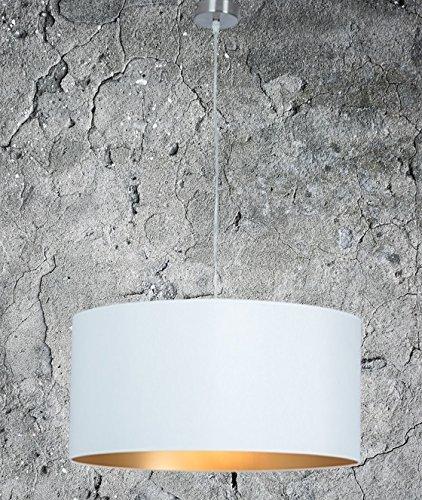 Lámpara colgante de techo clásica, de alta calidad, color dorado y blanco, XXL, lámpara para salón, comedor, dormitorio o cocina, diámetro 55cm, pantalla redonda, moderna, adecuada para led, regulable, 2casquillos E27