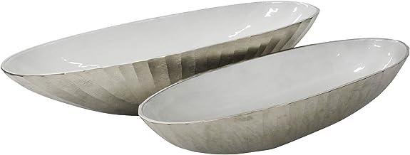 وعاء بيضاوي من الألومنيوم 60.96 سم، فضي، (مجموعة من 2)، طول 60.96 سم × عرض 20.32 سم × ارتفاع 15.24 سم، عدد 2 من سيج بروك هوم