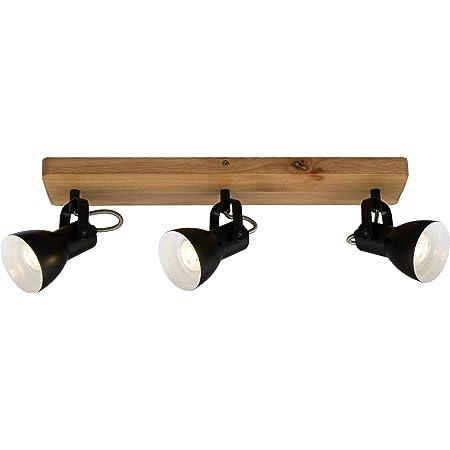 Briloner Leuchten - Spot, spot de plafond rétro, spot de plafond vintage, spots orientables et pivotants, 3x GU10, max. 35 Watt, bois-métal, noir et blanc, 480x100x135mm ( Lxlxh )