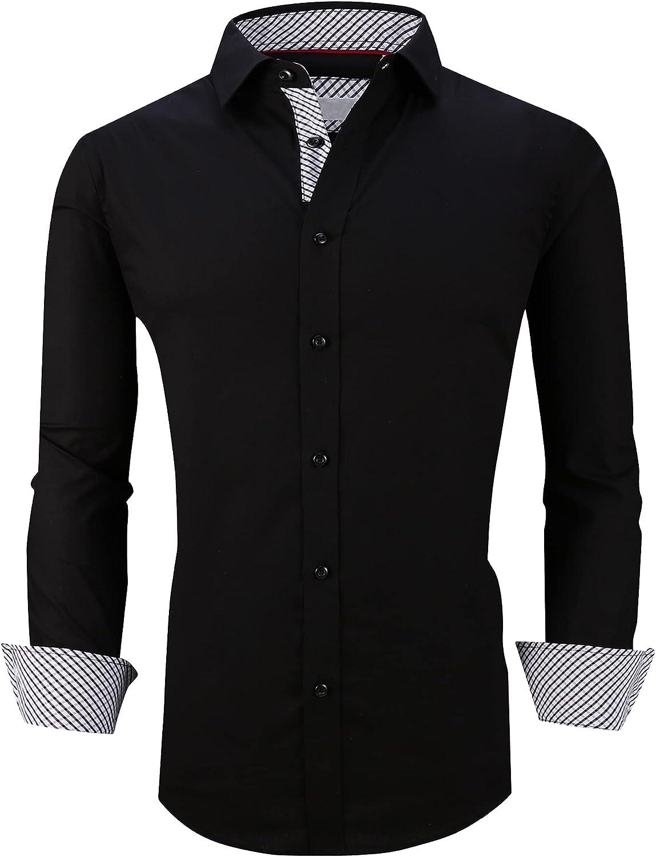 WARHORSEE Mens Dress Shirts Long Sleeve Regular Fit Button Down Casual Shirts