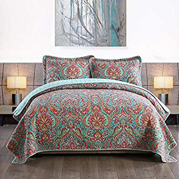 NEWLAKE European Gorgeous Floral Pattern,Cotton Queen Size Bedspread Quilt Sets Reversible Patchwork Coverlet Set