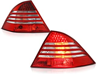 VIPMOTOZ For 2000-2006 Mercedes-Benz W220 S-Class Smoke Red Lens LED Tail Brake Light Housing Lamp Assembly Driver and Passenger Side Replacement Pair