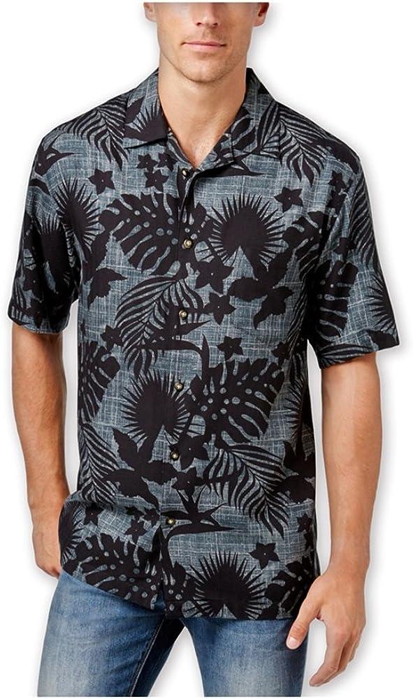 Newport Blue Mens Shadow Foliage Ss Button Up Shirt