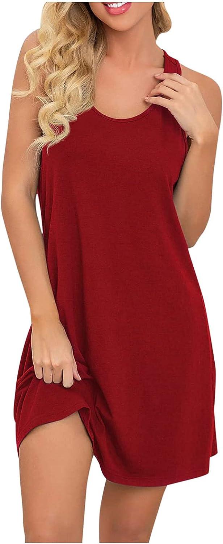 Alysofia Women's Summer Loose Nightgown Sleeveless Sleepwear Wide Strap Sleep Shirt Pleated Scoopneck Nightshirt