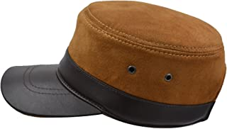 Cadet Army Cap Basic Everyday Military Style Suede Leather Hat