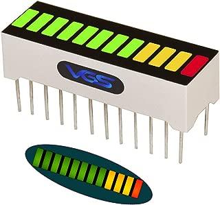 VG_S 1pc. 12 Segment LED Bar Graph Display 3 Colors(1xSuper Red+3xYellow+8xSuper Green) Single led bar Graph LEDs led Display Panel(DIY or Arduino)