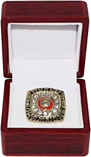 HOUSTON ROCKETS (Hakeem Olajuwon) 1994 NBA FINALS WORLD CHAMPIONS (Clutch City) Collectible High-Quality Replica NBA Basketball Gold Championship Ring with Cherrywood Display Box