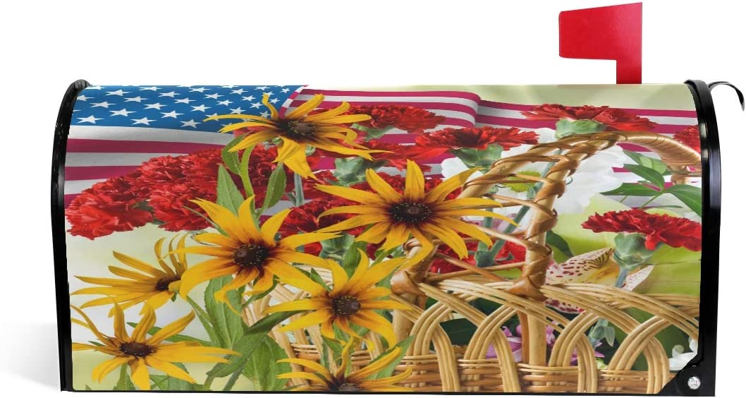 WOOR American Flag and Ranking TOP9 Sunflowers Magnetic Mailbox Cover Flowers Same day shipping